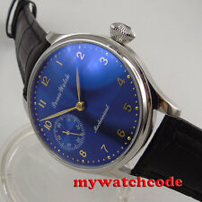 44mm parnis blue dial golden marks 6497 movement hand winding mens watch P395