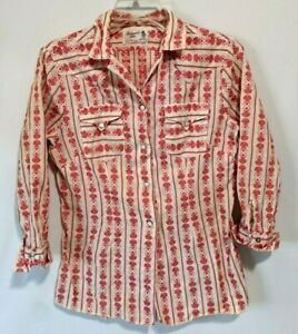 white 80s vintage Panhandle Slim cropped button up western blouse with fringe in black size Medium Large and red