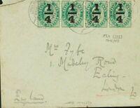 India Británica. Sobre Yv . 1906. ¼ sobre ½ a verde, tira de cuatro. JHANG a LO