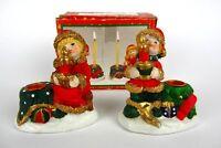 2 schöne Keramik Kerzenhalter Kinder mit Mütze Advent Weihnachten Kerzenständer