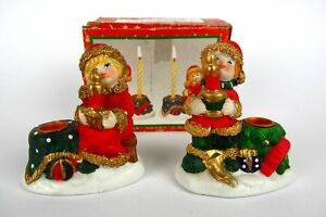 2 Beautiful Ceramic Candle Holder Children With Hat Advent Christmas