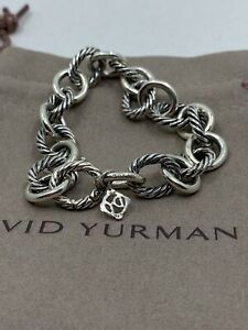 """David Yurman 925 Sterling Silver 12mm Large Oval Link Cable Chain Bracelet 8"""""""