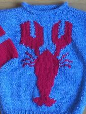 Lobster sweater size 2T 24 Months hand knit blue red handmade nautical baby