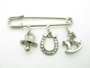 Silver Plated Pacifier Rocking Horse Crystal Horse Shoe Kabbalah Baby Pin Gift