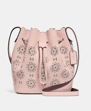 Genuine Coach Suede Cut Out Tea Rose Crossbody/bucket Bag Pink Peony RRP 250£