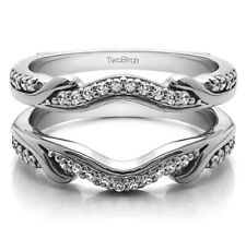 Sterling Silver Contoured Wedding Ring Jacket (0.26tw)