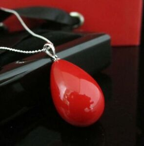 12x16mm Natural Red South Sea Shell Pearl Drop Pendant Necklace