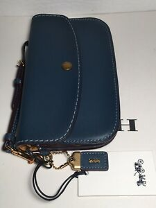 NWT Coach 58818 Clutch in Dark Denim Glovetanned Leather