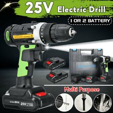 3/8'' LED 25V Cordless Electric Impact Drill Hammer Screwdriver 2 Li-Ion Battery