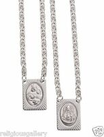 Stainless Steel Scapular, Sacred Heart of Jesus & Virgin of Mount Carmel Medal