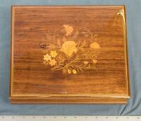Sorrento Italy Vintage Wood Inlay Flower Music Box Jewelry Torna A Surriento dq