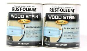 2 Cans Rust-Oleum 32 Oz Wood Stain One Coat 310399 Blue Interior Liquid