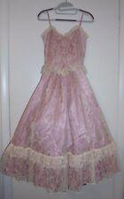 Vtg Gunne Sax Pink Victorian Ivory Lace Corset Prairie Wedding Bridal Dress Xs