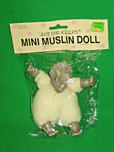 "MINI MUSLIN DINOSAUR DOLL   4""   JUST FOR KEEPS  VINYL & CLOTH  NIP"