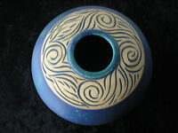 Pottery Vase Arts and Crafts Blue an Cream Carved Wave Pattern Vtg Bowl