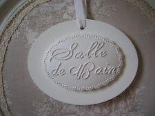 Plaque de porte ovale salle de bain bois blanc et résine 13.5x10.5cm shabby chic