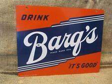 Vintage Barq's Drink Sign Deep Color > Antique Soda Cola Beverage Root Beer 8721
