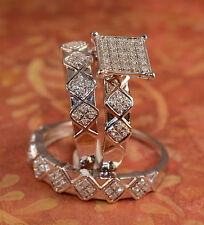 His And Hers Diamond And white Gold Trio Engagement Rings And Multiple Band(s)