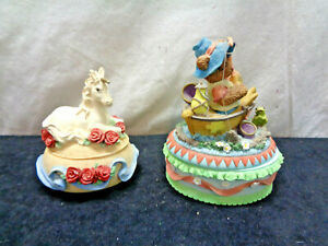 Set Of 2 Heritage House Trinket Jewelry Box With Working Music (OAW14)