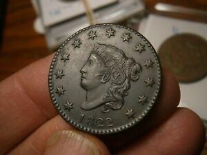 1822 1c Coronet or Matron Head Large Cent     au/unc