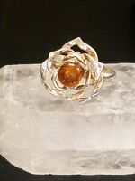 Sterling Silver 925 Ring With Round Amber Stone, Size 6