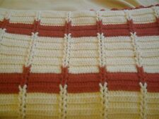 "Afghan Handmade Craft knit Throw Blanket Afghan 56"" x 50"" cream/rust"