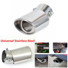 1x Universal Stainless Steel Chrome Round Bend Car Exhaust Tail Muffler Tip Pipe