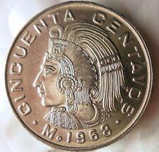 1968 MEXICO 50 CENTAVOS - AU/UNC - Great Coin - FREE SHIP - Mexico Bin #3