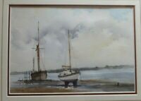 Signed Original Watercolour Painting  of Sail boats, river, by John R. Pretty