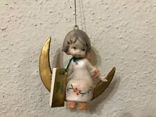 Fontanini Depose Italy Angel Sitting On Crescent Moon Ornament Spider Mark Wt