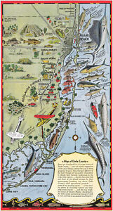 """1930 Pictorial Map of Dade County Florida Fishing 8""""x16"""" Wall Art Print Decor"""