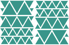 TEAL-TURQUOISES TRIANGLES GIRLS BEDROOM WALL DECALS Teen Girl Nursery Dorm Baby