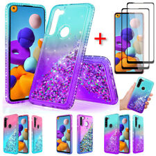 For Samsung Galaxy A20S A21 A514G Case Glitter Bling Cover Full Screen Protector