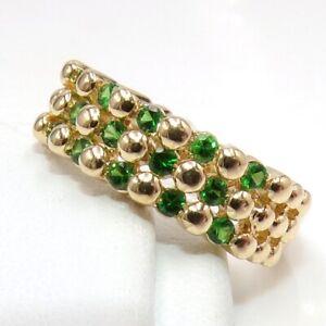 LeVian Multi Green Tsavorite Checker Bead Band 14K Yellow Gold Ring Size 6 LJG3