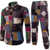 Mens Fashion Long Sleeve Shirt Business Slim Fit Blouse Top Pants Plus Size