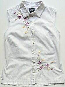 Izod Golf White/Purple Pinstriped Fitted Embroidered Floral Top Size 8