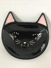 Black Cat Pink Ears Pottery Trinket Dish Snacks Spoon Rest Holiday Home