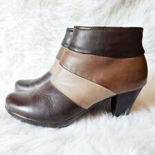 Spring Step Boots Sz 7 37 Generate Bootie Leather Heel Brown Beige