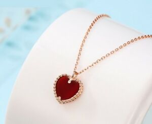 """Rose Gold 925 Sterling Silver Heart Red Onyx Pendant Necklace 18"""" Chain Gift K43"""