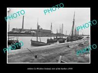 OLD LARGE HISTORIC PHOTO OF ARKLOW WICKLOW IRELAND, VIEW OF THE HARBOUR c1910 1