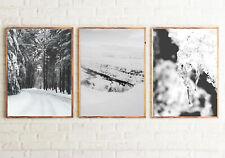 Winter Set of 3 Bedroom Posters FRAMELESS Wall Art Prints Home Decor