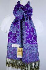 New DG Pashmina Scarf Shawl Wrap~Paisley Turquoise Purple~Silk Cashmere*Soft*011