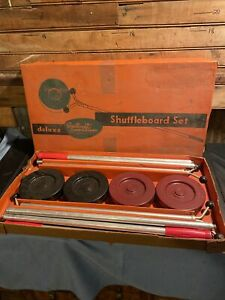 Vintage Sportcraft Sports Games Shuffleboard Set 4 Poles 8 Pucks Red Black