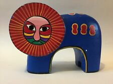 Unusual Painted Wooden Lion with Aztec Style Face - Ornament / Figure