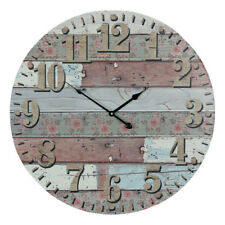 Large Round 58cm Rustic Floral Boards Wooden Wall Clock