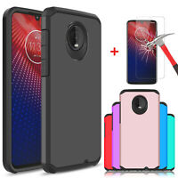 For Motorola Moto Z4 Shockproof Armor Case Cover With HD Glass Screen Protector