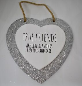 Silver Glitter Heart Plaque TRUE FRIENDS best friends friendship gift wall sign