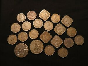 India, Collection of 58x Coins etc, mostly British (also Ceylon)