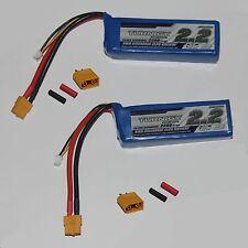 2x Turnigy Lipo Akku 2200mAh 3S 11,1V 20C–30C mit XT60 Stecker und Schrumpfschl.