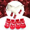 4Pcs Christmas Elk Snowman Puppy Pet Dog Cat Warm Winter Anti Slip Socks Boot